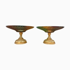 Colored Glass Tazze, 20th Century, Set of 2