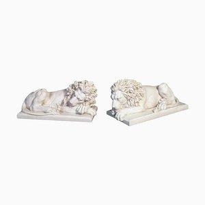 Grandes Statues de Lion en Marbre, 20ème Siècle, Set de 2