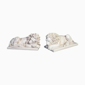 Large Marble Lion Statues, 20th Century, Set of 2