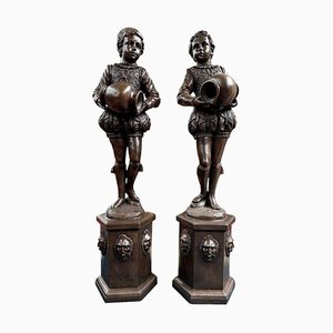 Large Bronze Elizabethan Page Boy Fountain Statues, 20th Century, Set of 2