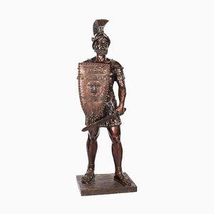 Lebensgroßer römischer Gladiator aus Bronze mit Schwert