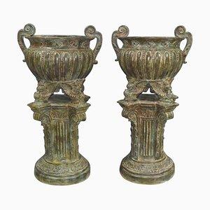 French Empire Garden Urns in Bronze, 20th Century, Set of 2
