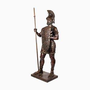 Lebensgroßer römischer Gladiator aus Bronze mit Speer