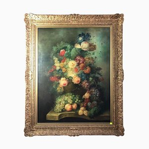 Bouquet of Carnations and Fruit, Still Life, 20th Century