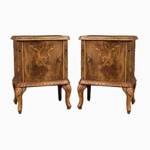 Italian Bedside Tables in Walnut, Burl, Maple and Fruitwood, Set of 2