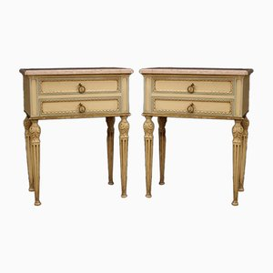 Louis XVI Style Italian Lacquered & Gilded Bedside Tables, 20th-Century, Set of 2