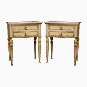 Tables de Chevet Style Louis XVI Laquées et Dorées, Italie, 20ème Siècle, Set de 2