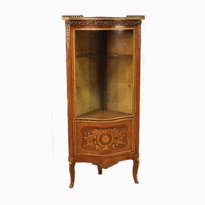 French Napoleon III Style Corner Cabinet in Inlaid Wood, 19th Century