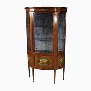 English Half-Moon Display Cabinet in Mahogany and Maple, 20th-Century