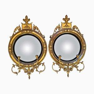 Englische Regency Convex Spiegel, 1820er, 2er Set