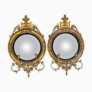 English Regency Convex Mirrors, 1820s, Set of 2