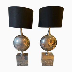 Chromed Steel Table Lamps from Maison Barbier, 1970s, Set of 2