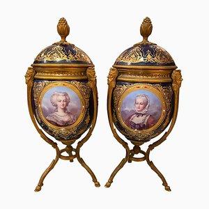 Vases et Couvercles Style Sèvres Antiques en Or Moulu, 1860, Set de 2
