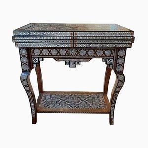 Mid-Century Spieltisch aus Damaskus mit Intarsien