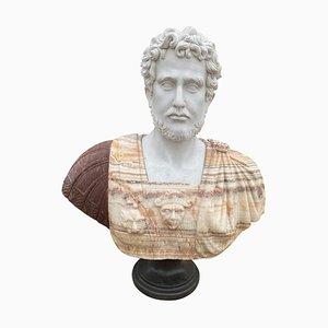 Buste de Figure Romaine du 20ème Siècle Sculpté en Marbre de Carrare Blanc et Onyx Africain