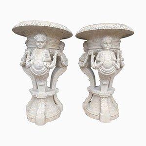 Vasi grandi in marmo intagliato a mano, XX secolo, set di 2