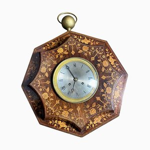 French Rosewood and Boxwood Cased Wall Clock, 19th-Century