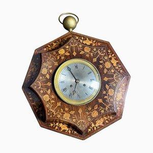 Horloge Murale en Palissandre et en Buis, France, 19ème Siècle