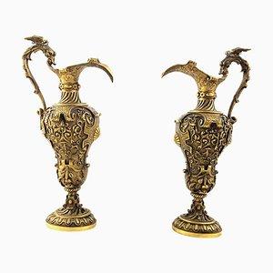 19th Century Italian Renaissance Revival Cast Gilt Bronze Ewers, Set of 2