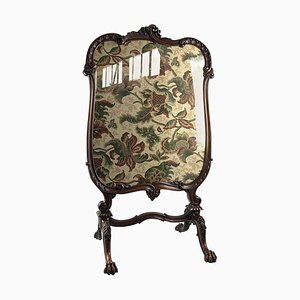 19th-Century Tapestry Firescreen with Carved Walnut Frame