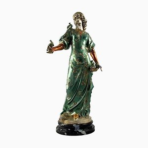 Figure de Dame en Bronze Peinte à Froid, France, 20ème Siècle sur Socle en Marbre