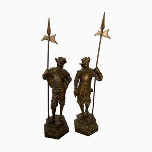 Statues de Cavalier en Bronze, 19ème Siècle, Set de 2
