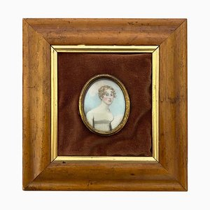 Wooden-Framed Picture of English Lady in White Frock, 19th-Century