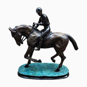 Statua di cavallo e fantino in bronzo, Francia, XX secolo
