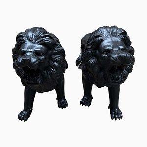 Italienische Medici Löwenstatuen aus Bronze, 20. Jh., 2er Set