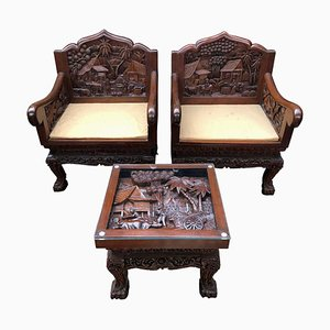 Chinese Carved Armchairs and Table, 20th Century, Set of 2