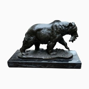 Bronze Brown Grizzly American Bear Statue, 20th-Century