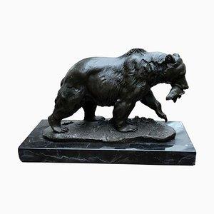 Statue d'Ours Grizzly Marron en Bronze, 20ème Siècle