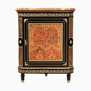 French Corner Cabinet on Boulle Style with Marble Top, 20th-Century