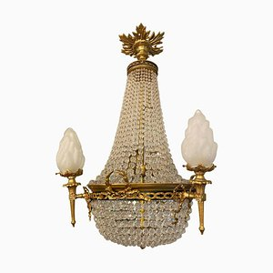 20th-Century Ormolu and Glass Tent and Bag Chandelier