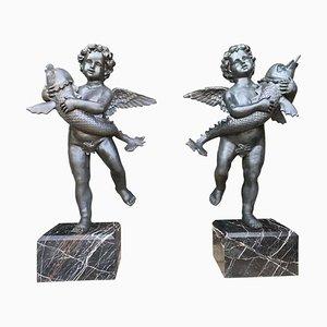 Grandes Fontaines Chérubins en Bronze avec Poisson, 20ème Siècle, Set de 2