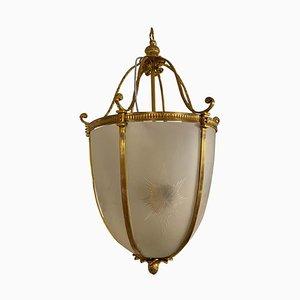 Grande Lanterne Suspendue en Verre Givré et Doré, 20ème Siècle