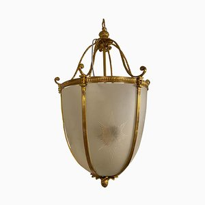Large 20th-Century Hanging Frosted Glass and Ormolu Lantern