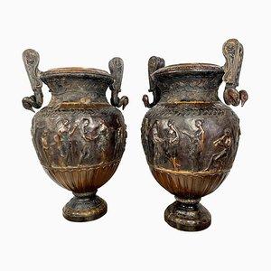 Urne neoclassiche in bronzo fuso, set di 2