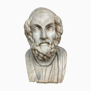 Buste en Marbre du Poète Antique Grec, 20ème Siècle