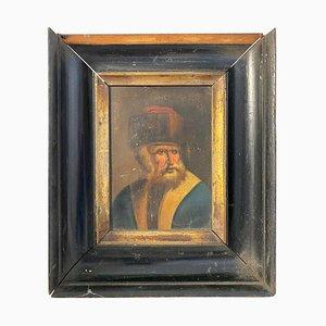 Tableau avec Cadre en Bois d'un Rabbin Juif Hassid, 18ème Siècle