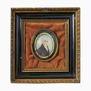 Peinture avec Cadre en Bois d'un Gentleman Anglais, 18ème Siècle
