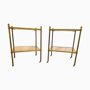 19th Century Regency Inlaid Brass Side Tables, Set of 2