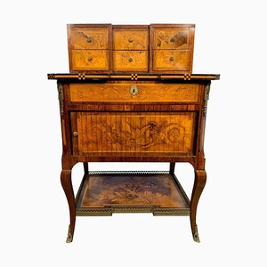 18th-Century French Satinwood and Marquetry Inlaid Desk