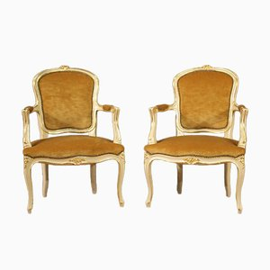 Lacquered and Gilded Armchairs, 20th Century, Set of 2