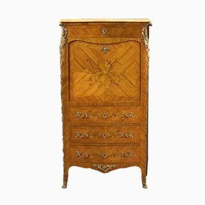 French Inlaid Secretaire with Marble Top, 20th Century