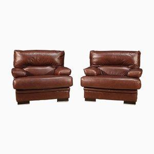 Italian Leather Armchairs, 20th Century, Set of 2