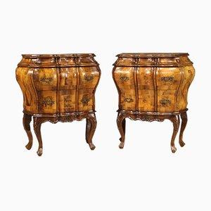 Venetian Bedside Tables Inlaid in Walnut, Burl, Maple & Beech Wood, Set of 2