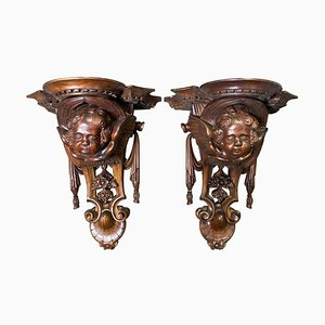 Wooden Carved Wall Sconces with Cherub Faces, 20th Century