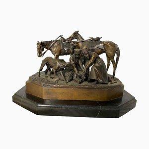 Scultura in bronzo raffigurante una squadra di caccia, XIX secolo
