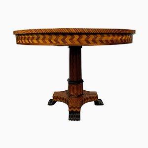 Table d'Appoint Style William IV en Noyer et Parqueterie, 19ème Siècle
